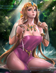 1girl armlet bare_shoulders barefoot belly_chain blonde_hair blue_eyes breasts bridal_gauntlets brown_hair cleavage cowboy_shot earrings flower jewelry kneeling long_hair looking_at_viewer lots_of_jewelry necklace nintendo outdoors partially_submerged pointy_ears princess_zelda sakimichan sitting solo the_legend_of_zelda tiara twilight_princess undone very_long_hair water waterfall watermark web_address