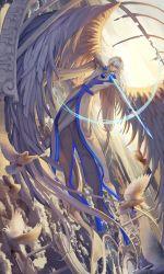 1boy ana_bi animal arrow bird bow_(weapon) card_captor_sakura cloud dutch_angle feathered_wings flying gem highres large_wings long_hair low-tied_long_hair pants pigeon sky very_long_hair weapon white_hair white_pants white_wings wings yue_(ccs)