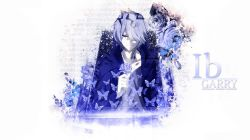 1boy blue_eyes blue_hair butterfly character_name coat collarbone copyright_name english fallendemonakaldrich flower garry_(ib) hair_over_one_eye holding ib jpeg_artifacts painting rose short_hair simple_background smirk solo text traditional_media wallpaper watercolor_(medium) white_background