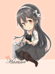 1girl alternate_costume bag black_dress black_hair black_legwear black_shoes brown_eyes character_name dress hairband haruna_(kantai_collection) heart jacket jewelry kantai_collection long_hair long_sleeves malachite necklace open_mouth pantyhose shoes shopping_bag solo white_hairband white_jacket