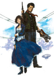 1boy 1girl bioshock bioshock_infinite corset dress duo lowres tagme weapon
