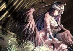 1girl albedo bare_shoulders black_hair black_wings breasts commentary_request demon_girl demon_horns feathers gloves hair_between_eyes highres horns large_breasts long_hair looking_at_viewer overlord_(maruyama) saraki solo white_gloves wings yellow_eyes