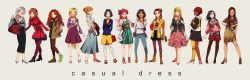 6+girls :d aladdin_(disney) anna_(frozen) ariel_(disney) arms_behind_back aurora_(disney) bag beauty_and_the_beast belle_(disney) black_hair blonde_hair blouse blue_eyes bow braid brave_(pixar) breasts brown_eyes brown_hair casual character_name cinderella cinderella_(disney) cleavage contemporary curly_hair dark_skin denim disney dress earrings elsa_(frozen) fa_mulan_(disney) frozen_(disney) green_eyes hair_bow hair_bun hair_over_shoulder hairband hand_in_pocket hand_on_hip handbag hat high_heels highres jacket jasmine_(disney) jeans jewelry libera long_hair long_skirt merida_(brave) mulan multiple_girls native_american necklace open_mouth pants pantyhose pocahontas pocahontas_(disney) rapunzel_(disney) red_hair ribbed_sweater short_dress short_hair silver_hair single_braid skirt sleeping_beauty smile snow_white snow_white_and_the_seven_dwarfs sweater tangled the_little_mermaid the_princess_and_the_frog tiana very_long_hair
