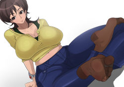 1girl amaha_masane breasts brown_eyes brown_hair brown_legwear cleavage denim fashion feet huge_breasts jeans long_hair midriff milf navel no_shoes pants pantyhose shiva_(johan-s) simple_background soles solo toes white_background witchblade