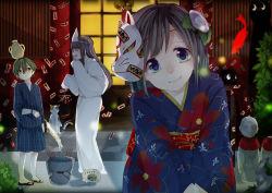 1boy 2girls absurdres bucket fireworks fish fox_mask goldfish highres japanese_clothes kimono mask multiple_girls ofuda original rakkarakka sparkler triangular_headpiece yukata