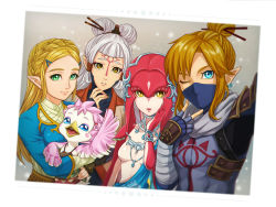 1boy 4girls bandage bird blonde_hair blue_eyes blush_stickers bodysuit braid breasts burbur covering_mouth earrings eyebrows facial_mark feathers fingerless_gloves fish_girl forehead_mark french_braid gloves green_eyes group_picture hair_ornament hairclip highres hug jewelry link long_hair looking_at_viewer mask mipha multiple_girls ninja nintendo one_eye_closed parted_lips paya_(zelda) pointy_ears princess_zelda scarf silver_hair simple_background smile the_legend_of_zelda the_legend_of_zelda:_breath_of_the_wild three_(pixiv17689488) tied_hair trap upper_body v white_background wings yellow_eyes zora