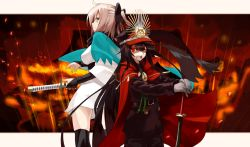2girls ahoge back-to-back bangs belt black_hair black_legwear black_scarf blonde_hair bow breasts cloak demon_archer eyebrows_visible_through_hair fate_(series) gloves green_eyes hair_between_eyes hair_bow half_updo hat height_difference highres holding holding_sword holding_weapon japanese_clothes katana kimono kimono_skirt koha-ace long_hair looking_back medium_breasts military military_hat military_uniform multiple_girls over-kneehighs parted_lips peaked_cap planted_sword planted_weapon ponytail profile red_eyes sakura_saber scarf sheath sheathed shinsengumi shunichi standing swept_bangs sword thighhighs uniform weapon white_gloves white_kimono