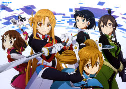 6+girls :d absurdres aizawa_takahiko anklet asada_shino asuna_(sao) asuna_(sword_art_online) bangs bare_shoulders barefoot belt beltskirt black_eyes blue_eyes blue_gloves blunt_bangs bow braid breasts brown_eyes brown_hair buttons choker closed_mouth detached_collar dress elbow_gloves fairy fairy_wings flying freckles french_braid glasses gloves gun hair_between_eyes half_updo headset high_collar highres holding holding_gun holding_sword holding_weapon jewelry juliet_sleeves kirigaya_suguha leaning_forward light_smile lisbeth long_hair long_sleeves looking_at_viewer looking_back mace medium_breasts minigirl multiple_girls newtype official_art open_mouth orange_eyes orange_hair outstretched_arms parted_bangs parted_lips pink_gloves puffy_sleeves purple_eyes rifle rimless_glasses scan shield shinon_(sao:hf) short_dress short_hair short_hair_with_long_locks sidelocks silica size_difference small_breasts smile sniper_rifle spread_arms strapless strapless_dress sword sword_art_online twintails uniform very_long_hair weapon white_gloves wings yui_(sao) yui_(sao-alo) yui_(sword_art_online)