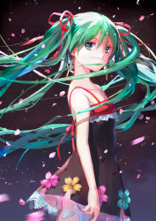1girl cherry_blossoms dress floating_hair flower from_side green_eyes green_hair hair_ribbon hatsune_miku long_hair looking_at_viewer mimi_n petals ribbon solo twintails very_long_hair vocaloid