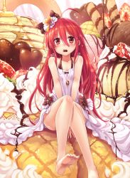 1girl ahoge alastor_(shakugan_no_shana) bare_legs barefoot bow bread chocolate chocolate_heart collarbone dress feet food fruit hair_between_eyes hair_ornament halterneck heart highres jewelry ks long_hair looking_at_viewer melon_bread mouth_hold oversized_object parfait pendant red_eyes red_hair shakugan_no_shana shana sitting solo sparkle strawberry toes v_arms valentine very_long_hair white_dress
