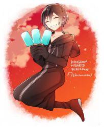 1girl boots coat eyes_closed food ice_cream kingdom_hearts kingdom_hearts_358/2_days short_hair smile xion_(kingdom_hearts)