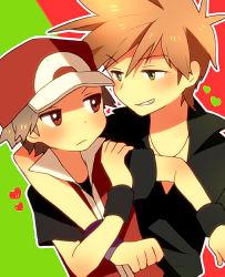 2boys arm_around_shoulder blush brown_hair green_eyes grin heart male_focus multiple_boys ookido_green pink_usagi pokemon pokemon_(game) pokemon_frlg red_(pokemon) red_(pokemon)_(remake) red_eyes smile yaoi