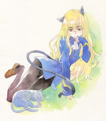 1girl agahari animal_ears black_legwear blonde_hair cat cat_ears cat_tail glasses highres long_hair long_sleeves lying military military_uniform on_side pantyhose perrine_h_clostermann shoe_dangle sleeping sleeves_past_wrists solo strike_witches tail traditional_media uniform watercolor_(medium) world_witches_series yellow_eyes