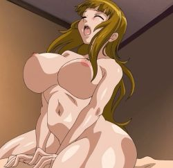 1boy 1girl animated animated_gif arbeit_shiyou!!_let`s_arbeit! bouncing_breasts breasts brown_hair eyes_closed hime_cut huge_breasts long_hair nipples oshikiri_momoka rough_sex sex stitched