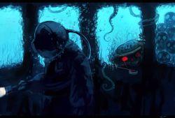 1girl anchor diver diving_helmet hat helmet koto_inari ladle murasa_minamitsu red_eyes sailor_hat skull tentacle touhou underwater