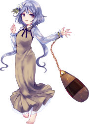 1girl barefoot biwa_lute bow chains hair_bow highres instrument lavender_eyes lavender_hair long_hair low_twintails lute_(instrument) solo touhou tsukumo_benben twintails uranaishi_(miraura) white_background