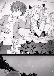 1boy 1girl blonde_hair comic date_a_live hoshimiya_mukuro long_hair monochrome outdoors sky tsunako