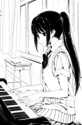 1girl 3: amage_kanade instrument long_hair monochrome original piano playing_instrument pleated_skirt ponytail school_uniform skirt solo traditional_media