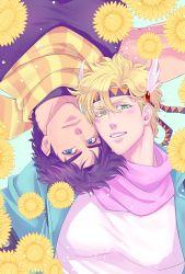 2boys blonde_hair blue_eyes caesar_anthonio_zeppeli facial_mark flower gamako green_eyes headband jojo_no_kimyou_na_bouken joseph_joestar_(young) male_focus multiple_boys purple_hair scarf sunflower upside-down winged_hair_ornament