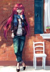 1girl alternate_costume chair denim fal fate/grand_order fate_(series) highres jeans long_hair pants plant potted_plant purple_eyes purple_hair scarf scathach_(fate/grand_order) smile solo watch wristwatch