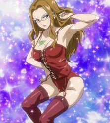 1girl breasts brown_eyes brown_hair cleavage dominatrix evergreen fairy_tail glasses highres large_breasts latex long_hair screencap solo stitched tattoo
