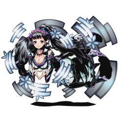 1girl blue_nails breasts choker cleavage collarbone divine_gate dress floating_hair full_body grey_hair hair_ornament heart heart_hands high_heels large_breasts long_hair nail_polish official_art purple_eyes smile solo transparent_background ucmm very_long_hair