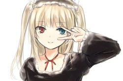 1girl blonde_hair blue_eyes boku_wa_tomodachi_ga_sukunai choker coffee-kizoku gothic_lolita hairband hasegawa_kobato heterochromia lolita_fashion lolita_hairband looking_at_viewer red_eyes ribbon_choker simple_background smile solo two_side_up upper_body v v_over_eye white_background