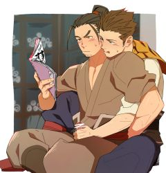 2boys bara blush erection from_behind handjob itto_(mentaiko) licking_lips male_focus multiple_boys penis penis_grab pornography sangokushi_puzzle_taisen sitting sun_quan sweat tongue tongue_out undressing yaoi