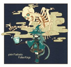 1girl animal_ears aqua_eyes boots cat_ears cat_tail frown hair_tubes long_hair multiple_tails original pixiv_fantasia pixiv_fantasia_fallen_kings satsumai skeleton smoke solo standing stitched tagme tail two_tails wide_sleeves