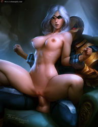 1boy 1girl 2015 arm_grab armchair armor artist_name bangs blue_eyes breasts chair clitoris clothed_male_nude_female collarbone dc_comics deathstroke eyepatch father_and_daughter glowing glowing_eyes hetero incest large_breasts long_hair mask navel nipples parted_bangs parted_lips penis perky_breasts pussy red_eyes reverse_cowgirl_position rose_wilson sex silver_hair sitting sitting_on_lap sitting_on_person spread_legs tarakanovich testicles uncensored vaginal watermark web_address