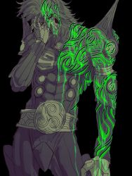 1boy artist_request beard belt black_background dagda facial_hair green green_eyes hand_on_own_face shin_megami_tensei shin_megami_tensei_iv shin_megami_tensei_iv_final skull tattoo