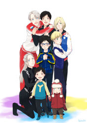 6+boys black_hair blonde_hair blue-framed_eyewear blue_eyes brown_eyes child crossed_arms glasses green_eyes hachisuka_(nejyo) hand_holding hand_on_another's_shoulder hat hood hug jacket jewelry katsuki_yuuri kneeling male_focus mittens multiple_boys multiple_persona open_mouth ponytail ring silver_hair smile teenage time_paradox track_jacket viktor_nikiforov younger yuri!!!_on_ice yuri_plisetsky