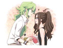 1boy 1girl blush brown_hair eye_contact frown green_hair hat hat_removed headwear_removed izumi_kikaku long_hair looking_at_another n_(pokemon) pokemon pokemon_(game) pokemon_bw ponytail squiggle touko_(pokemon)