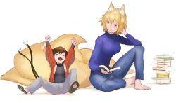 2girls alternate_costume animal_ears arms_up barefoot blonde_hair book book_stack brown_hair casual cat_ears cat_tail chen contemporary denim eyes_closed fox_ears fox_tail full_body jeans kinketsu long_sleeves looking_at_another lying multiple_girls multiple_tails no_hat open_book orange_eyes pants shirt short_hair simple_background sitting slippers smile sweater tail touhou turtleneck white_background wide_sleeves yakumo_ran
