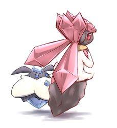 blue_eyes carbink crystal diancie dress nintendo pokemon pokemon_(game) pokemon_xy red_eyes simple_background white_background