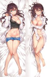 1girl ;) ahoge barefoot blue_eyes blue_shorts bottomless breasts breasts_outside cleavage closed_mouth collarbone covering covering_crotch dakimakura earrings from_above full_body groin hair_between_eyes head_tilt highres ichinose_shiki idolmaster idolmaster_cinderella_girls jewelry knees_together_feet_apart large_breasts long_sleeves looking_at_viewer lying multiple_views navel nipples on_back on_side one_eye_closed open_clothes open_shirt pink_lips see-through shiny shiny_skin shirt shorts shorts_pull smile stomach tank_top wet wet_clothes wet_shirt white_shirt yuran_(cozyquilt)