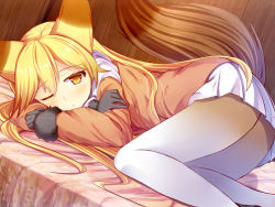 1girl :o ;o animal_ears ass bed_sheet black_gloves black_shoes blonde_hair blush bow bowtie colored_eyelashes eyebrows_visible_through_hair ezo_red_fox_(kemono_friends) floral_print fox_ears fox_tail fur-trimmed_sleeves fur_trim gloves hair_between_eyes hand_up invisible_chair jacket kemono_friends knees_together_feet_apart liya loafers long_hair long_sleeves looking_at_viewer lying multicolored multicolored_clothes multicolored_legwear on_bed one_eye_closed open_mouth orange_jacket orange_legwear pantyhose parted_lips pocket scarf shoes simple_background sitting skirt slit_pupils solo straight_hair tail upskirt very_long_hair white_background white_bow white_bowtie white_legwear white_scarf white_skirt