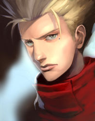 1boy bad_id blonde_hair face grey_eyes high_collar kaiseki male_focus mole realistic short_hair solo spiked_hair trigun vash_the_stampede
