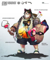 1boy absurdres animal_ears backpack bag belly black_shorts camera cat_ears character_name character_print checkered checkered_skirt commentary crane_game dakimakura english fake_animal_ears glasses gradient gradient_background grey_background headband highres holding holding_panties monori_rogue otaku overwatch panties poster_(object) roadhog_(overwatch) sandals shadow shirt shorts simple_background skirt solo striped striped_panties surgical_mask t-shirt underwear watch white_background white_legwear wristwatch