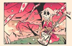 arrow arrow_through_head blonde_hair cherry_blossoms injury instrument japanese_clothes kimono mountain nature original piercing playing_instrument plectrum setz shamisen skeleton skull solo spring_(season) tree