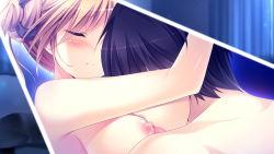 1girl bed blush breast_sucking breasts brown_hair character_request eyes_closed game_cg hair_ornament kanojo_ga_ore_ni_kureta_mono._ore_ga_kanojo_ni_ageru_mono. long_hair onomatope ornament pillow shiratama twintails