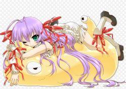 1girl ;) ahoge al_azif bloomers demonbane frills green_eyes hair_ribbon hug long_hair lying nitroplus on_stomach one_eye_closed purple_hair ribbon sattan shoggoth skirt smile wink
