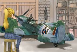 1girl aircraft airplane artist_name back blonde_hair boots camouflage chair cup dated denim drinking from_behind garage hair_ornament highres holding holding_cup indoors jeans long_hair long_sleeves original pants ponytail propeller sitting solo spitfire_(airplane) steam sweater tokihama_jirou turtleneck turtleneck_sweater