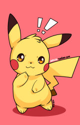 ! :3 looking_at_viewer pikachu pink_background pokemon signature simple_background solo standing tagme zrae
