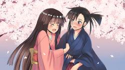 2girls black_hair cherry_blossoms couple happy hime_cut japanese_clothes konoe_konoka mahou_sensei_negima! multiple_girls petals sakurazaki_setsuna side_ponytail xaburus yuri