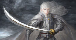 1boy androgynous armor berserk blue_eyes cape cloudbox9 full_armor griffith highres long_hair looking_at_viewer realistic silver_hair solo sword weapon white_hair