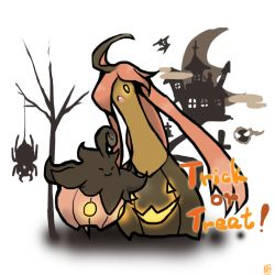 ahoge gastly gourgeist gravestone halloween jack-o'-lantern long_hair open_mouth pink_hair pokemon pokemon_(game) pokemon_xy pumpkaboo spider spinarak tree trick_or_treat yellow_eyes zubat