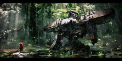 1girl animal_ears blurry commentary highres jumpei99 jungle letterboxed light_rays lily_pad mecha nature original plant realistic ruins scenery science_fiction severed_arm severed_limb solo sunlight swamp sword tree vines water weapon wreckage