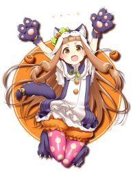 1girl :d animal_costume animal_ears animal_hat arms_up bangs bell blunt_bangs bow brown_eyes brown_hair buttons capelet fang frills full_body gloves halloween hat hattori_masaki ichihara_nina idolmaster idolmaster_cinderella_girls japanese jumping lace legwear_under_shorts long_hair looking_at_viewer low-tied_long_hair open_mouth pantyhose paw_gloves paw_shoes pink_legwear polka_dot polka_dot_bow polka_dot_legwear pom_pom_(clothes) puffy_shorts pumkin pumpkin ribbon shoes shorts smile solo striped tail tail_bell thigh_gap transparent_background very_long_hair wolf_costume wolf_ears wolf_tail yellow_eyes