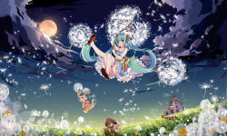1girl aqua_hair bunny cloud dandelion dandelion_seed dress fence floating flower full_body full_moon grass green_eyes hatsune_miku hnanati long_hair minigirl moon open_mouth panties sky striped striped_panties twintails underwear very_long_hair vocaloid windmill wooden_fence